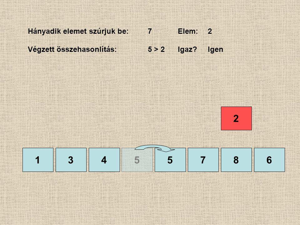 1355786 Hányadik elemet szúrjuk be:7Elem:2 Végzett összehasonlítás:5 > 2Igaz?Igen 4 2