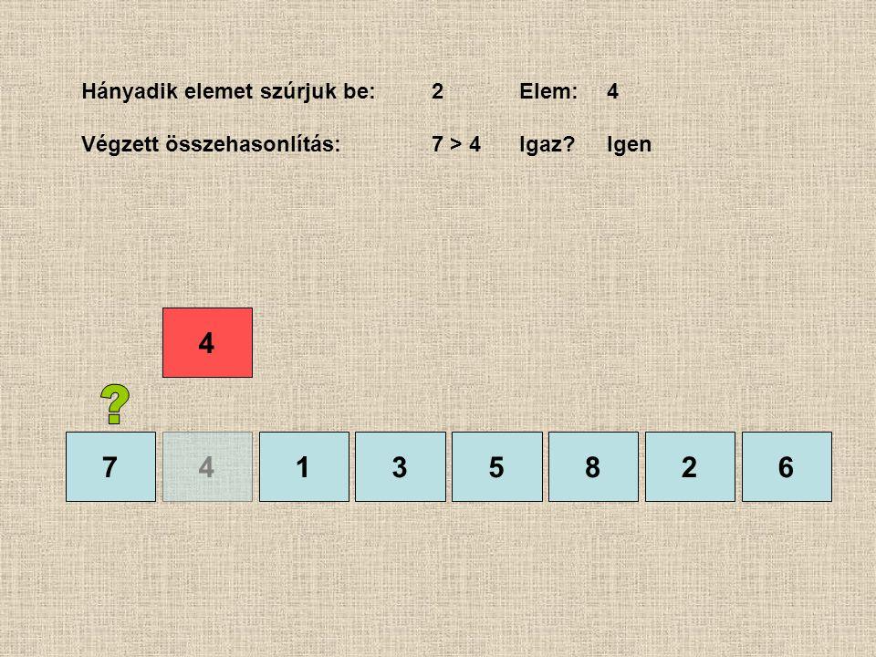 74135826 Hányadik elemet szúrjuk be:2Elem:4 Végzett összehasonlítás:7 > 4 Igaz?Igen 4