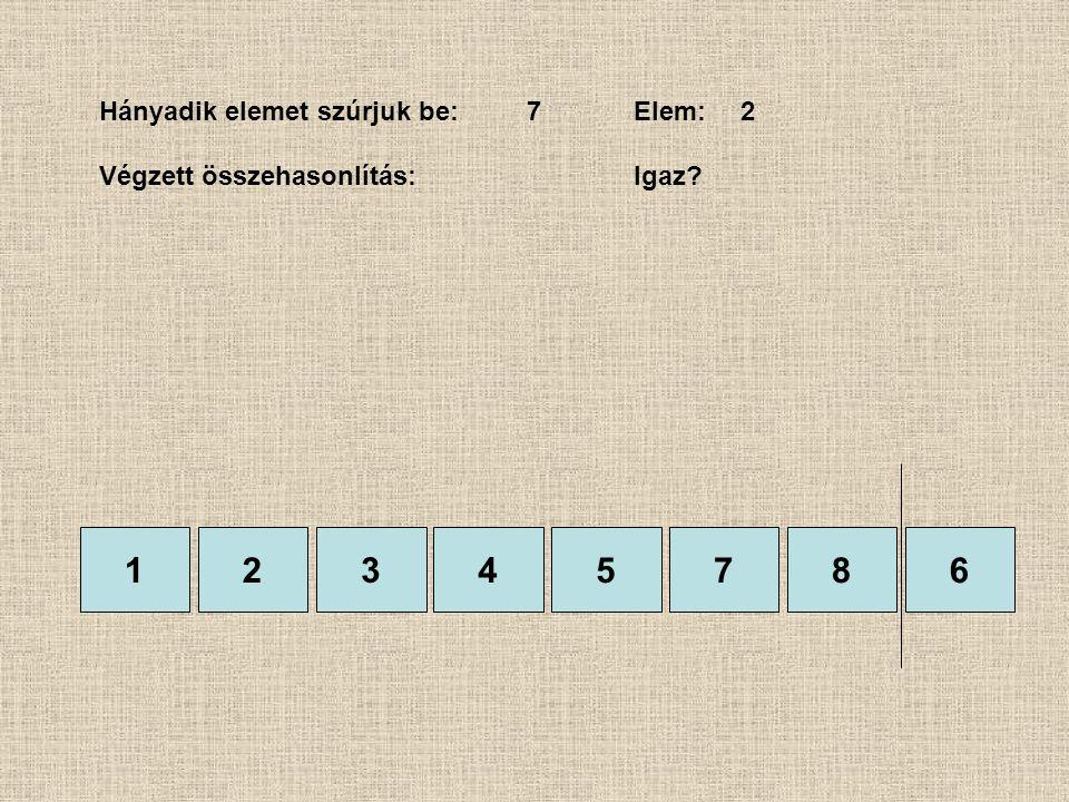 1245786 Hányadik elemet szúrjuk be:7Elem:2 Végzett összehasonlítás:Igaz? 3