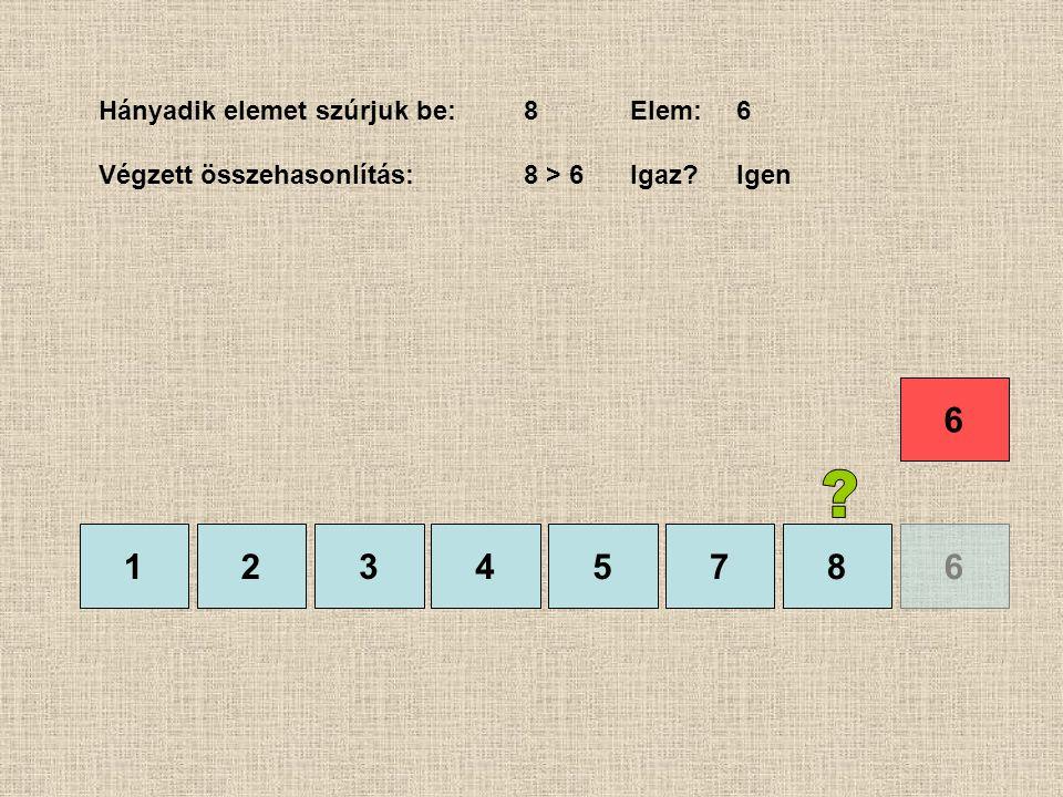1245786 Hányadik elemet szúrjuk be:8Elem:6 Végzett összehasonlítás:8 > 6Igaz?Igen 3 6