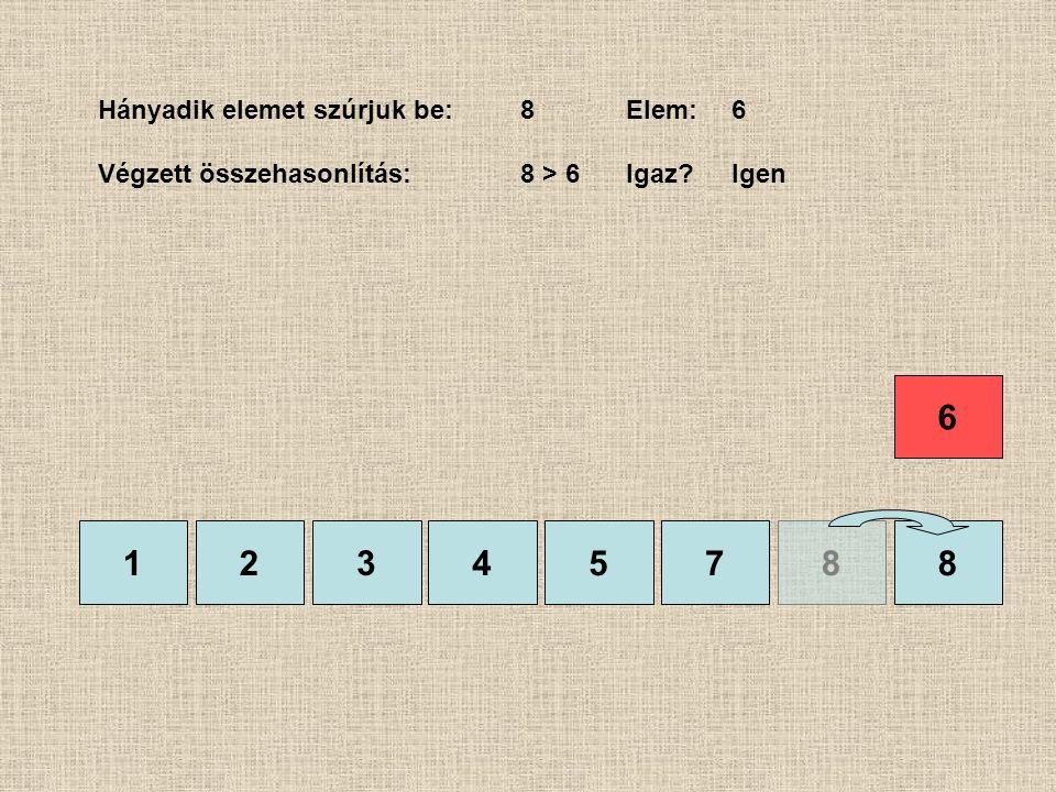 1245788 Hányadik elemet szúrjuk be:8Elem:6 Végzett összehasonlítás:8 > 6Igaz?Igen 3 6