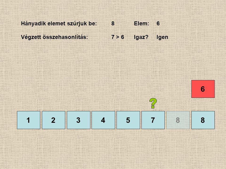 1245788 Hányadik elemet szúrjuk be:8Elem:6 Végzett összehasonlítás:7 > 6Igaz?Igen 3 6