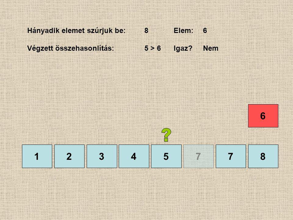 1245778 Hányadik elemet szúrjuk be:8Elem:6 Végzett összehasonlítás:5 > 6Igaz?Nem 3 6