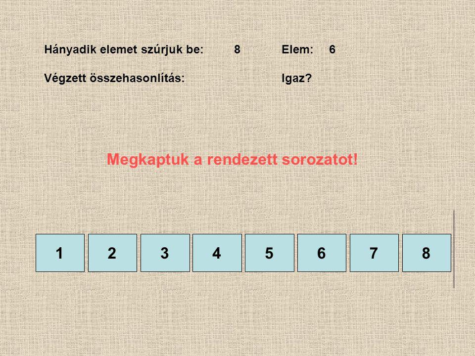 1245678 Hányadik elemet szúrjuk be:8Elem:6 Végzett összehasonlítás:Igaz? 3 Megkaptuk a rendezett sorozatot!