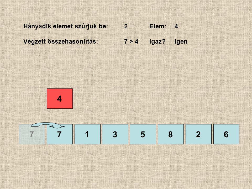 77135826 Hányadik elemet szúrjuk be:2Elem:4 Végzett összehasonlítás:7 > 4 Igaz?Igen 4