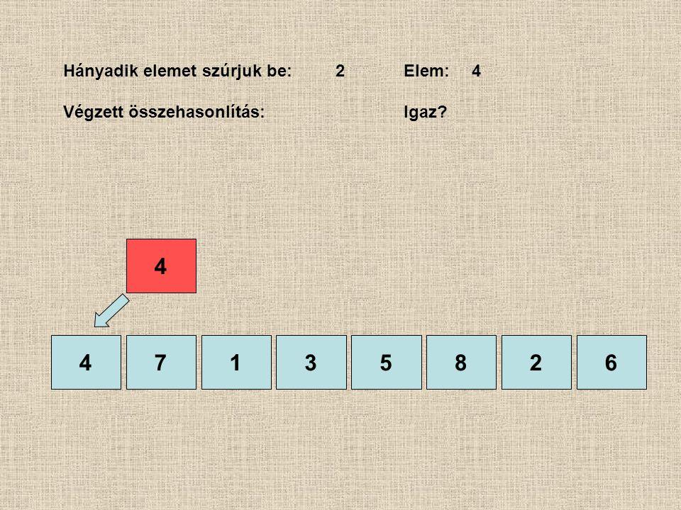 47135826 Hányadik elemet szúrjuk be:2Elem: 4 Végzett összehasonlítás: Igaz? 4