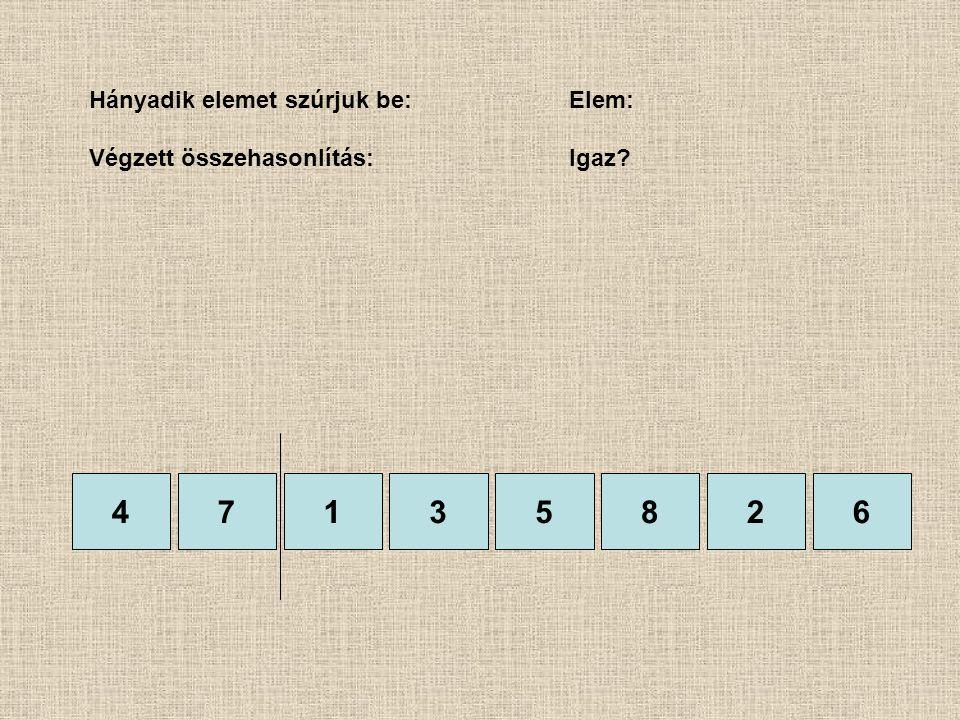 47135826 Hányadik elemet szúrjuk be:Elem: Végzett összehasonlítás: Igaz?