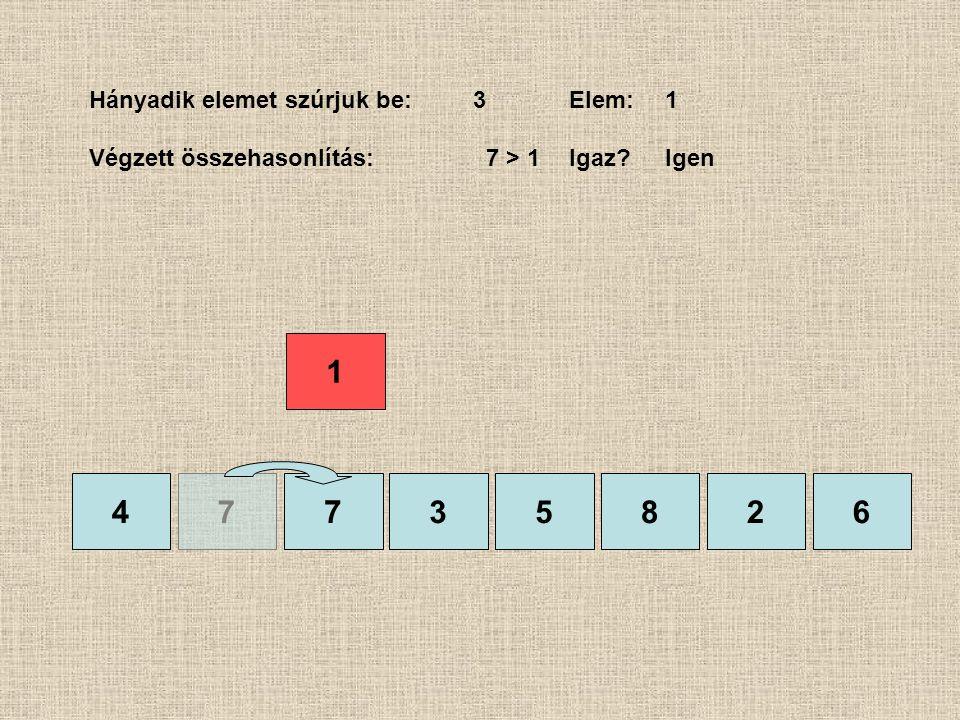 4735826 Hányadik elemet szúrjuk be:3Elem:1 Végzett összehasonlítás: 7 > 1Igaz?Igen 1 7