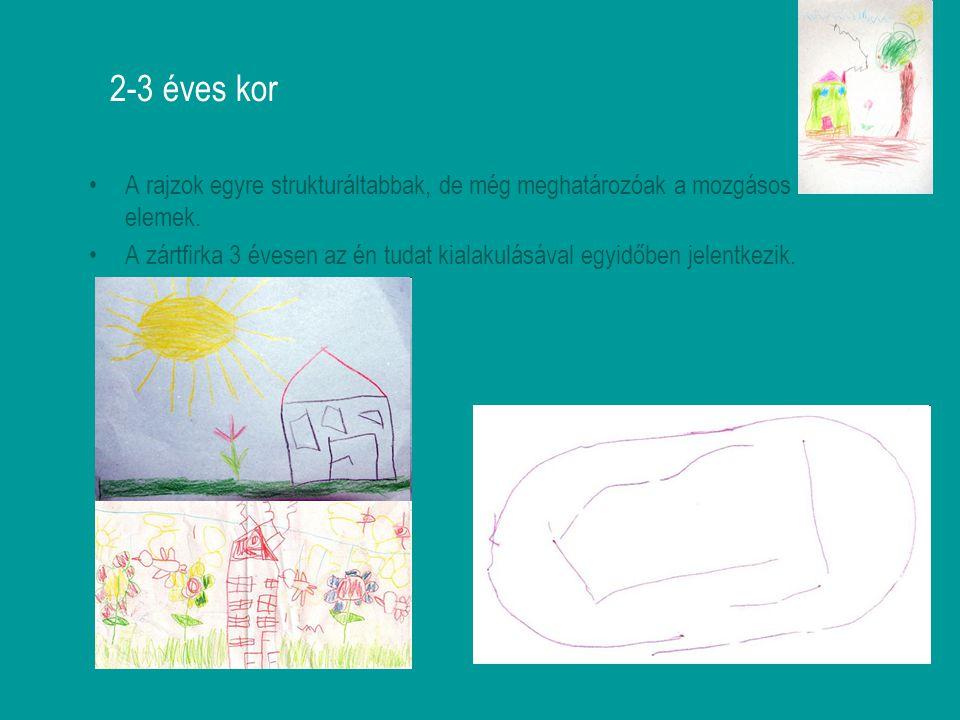2-3 éves kor A rajzok egyre strukturáltabbak, de még meghatározóak a mozgásos elemek. A zártfirka 3 évesen az én tudat kialakulásával egyidőben jelent