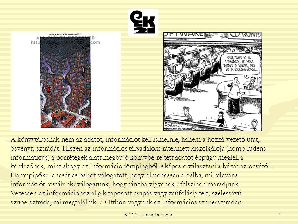 K 21 2. sz. munkacsoport7 A könyvtárosnak nem az adatot, információt kell ismernie, hanem a hozzá vezető utat, ösvényt, sztrádát. Hiszen az információ
