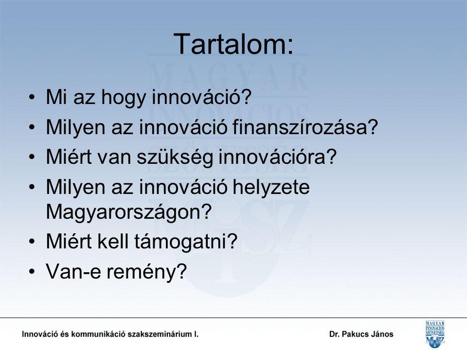 Tartalom: Mi az hogy innováció. Milyen az innováció finanszírozása.