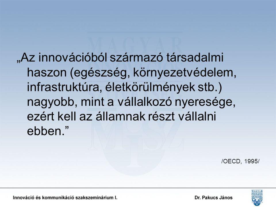 """""""Az innovációból származó társadalmi haszon (egészség, környezetvédelem, infrastruktúra, életkörülmények stb.) nagyobb, mint a vállalkozó nyeresége, ezért kell az államnak részt vállalni ebben. /OECD, 1995/"""