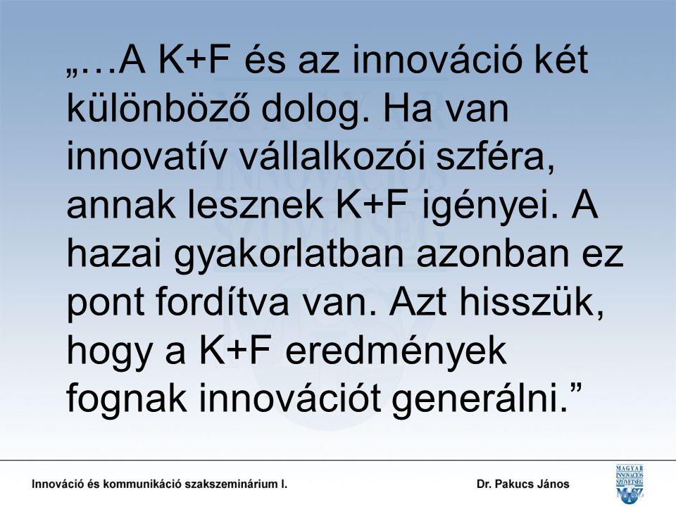 """""""…A K+F és az innováció két különböző dolog."""