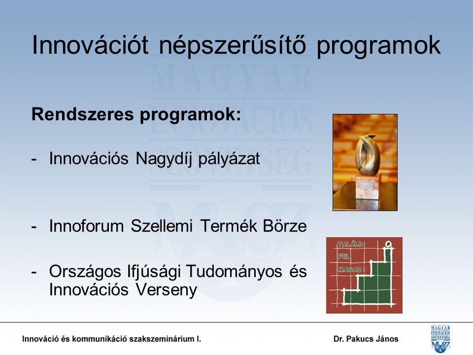 Innovációt népszerűsítő programok Rendszeres programok: -Innovációs Nagydíj pályázat -Innoforum Szellemi Termék Börze -Országos Ifjúsági Tudományos és Innovációs Verseny