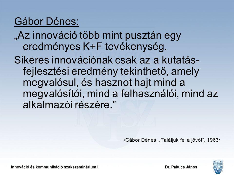 """Gábor Dénes: """"Az innováció több mint pusztán egy eredményes K+F tevékenység."""