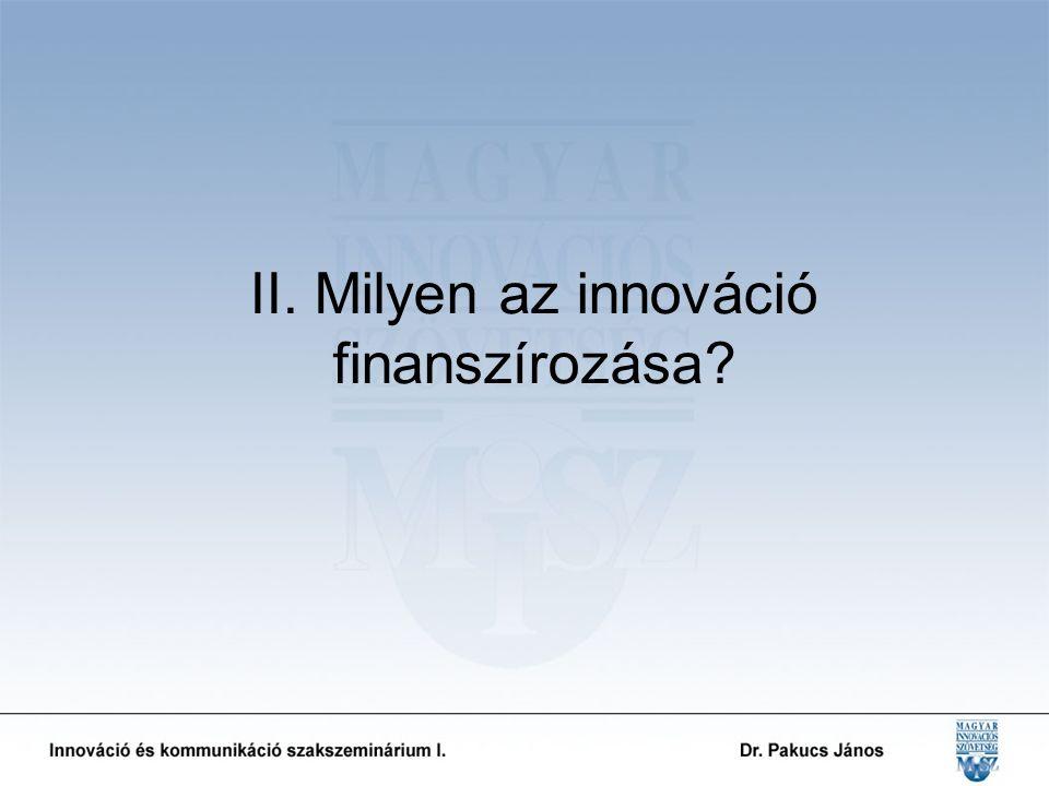 II. Milyen az innováció finanszírozása