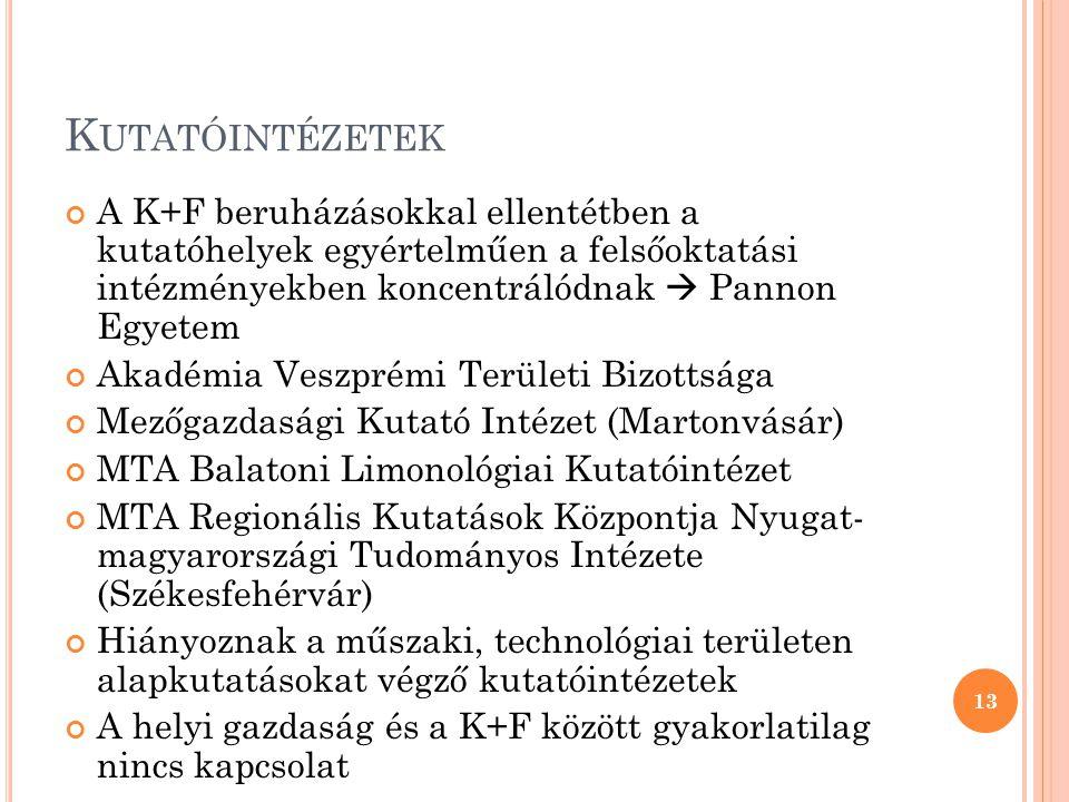 K UTATÓINTÉZETEK A K+F beruházásokkal ellentétben a kutatóhelyek egyértelműen a felsőoktatási intézményekben koncentrálódnak  Pannon Egyetem Akadémia