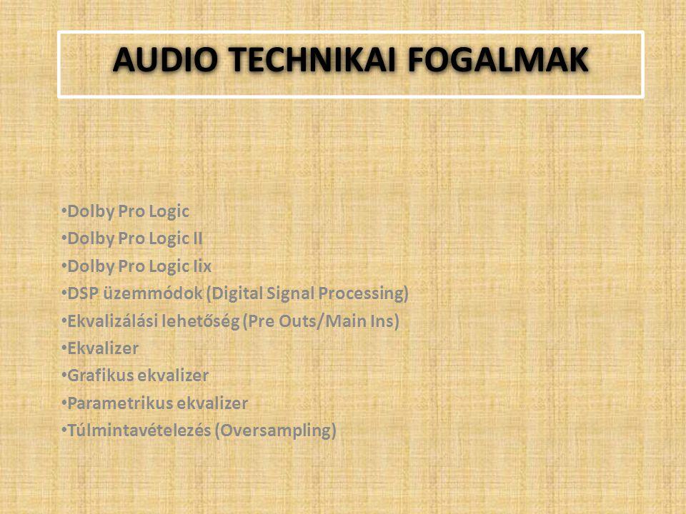 AUDIO TECHNIKAI FOGALMAK Dolby Pro Logic Dolby Pro Logic II Dolby Pro Logic Iix DSP üzemmódok (Digital Signal Processing) Ekvalizálási lehetőség (Pre