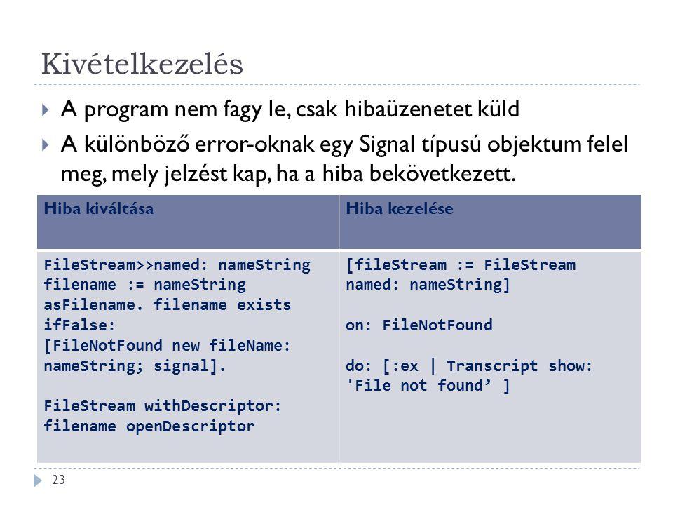 Kivételkezelés  A program nem fagy le, csak hibaüzenetet küld  A különböző error-oknak egy Signal típusú objektum felel meg, mely jelzést kap, ha a