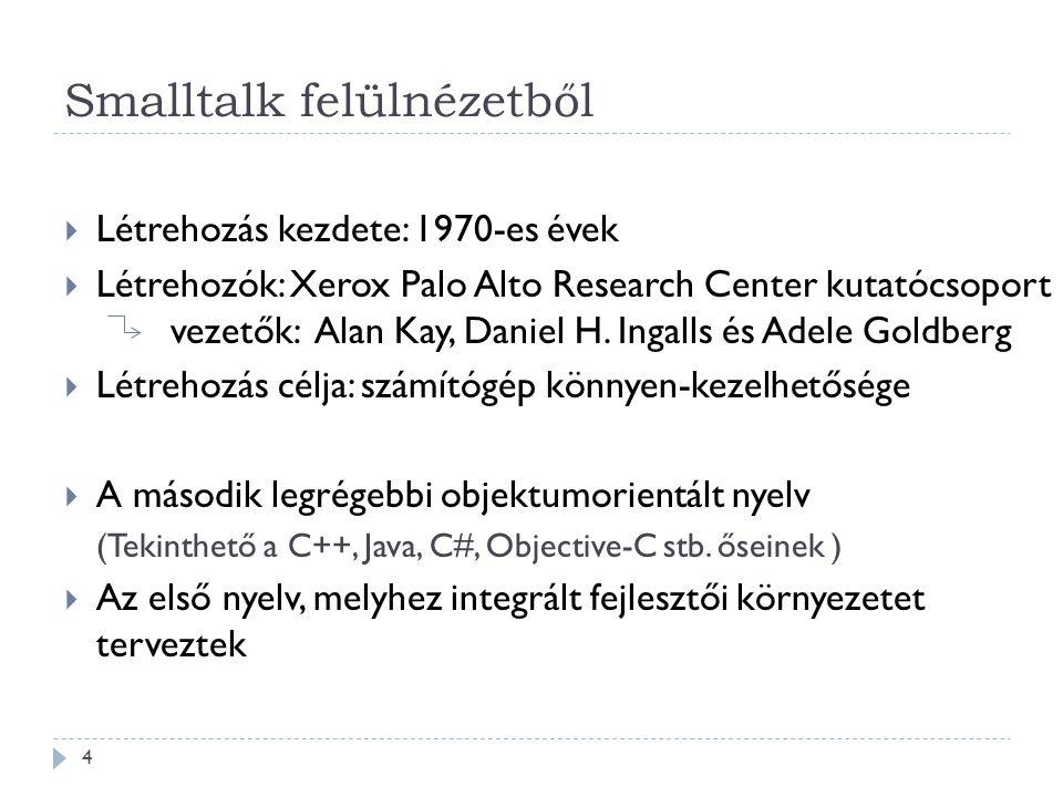 Smalltalk felülnézetből  Létrehozás kezdete: 1970-es évek  Létrehozók: Xerox Palo Alto Research Center kutatócsoport vezetők: Alan Kay, Daniel H. In
