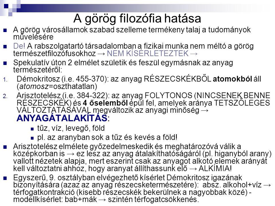 A görög filozófia hatása A görög városállamok szabad szelleme termékeny talaj a tudományok művelésére De! A rabszolgatartó társadalomban a fizikai mun