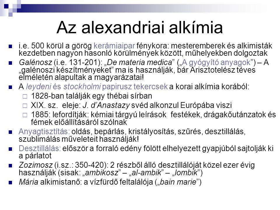 Az alexandriai alkímia i.e. 500 körül a görög kerámiaipar fénykora: mesteremberek és alkimisták kezdetben nagyon hasonló körülmények között, műhelyekb