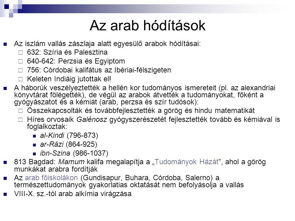 Az arab hódítások Az iszlám vallás zászlaja alatt egyesülő arabok hódításai:  632: Szíria és Palesztina  640-642: Perzsia és Egyiptom  756: Córdoba
