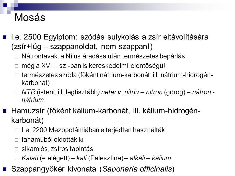 Mosás i.e. 2500 Egyiptom: szódás sulykolás a zsír eltávolítására (zsír+lúg – szappanoldat, nem szappan!)  Nátrontavak: a Nílus áradása után természet