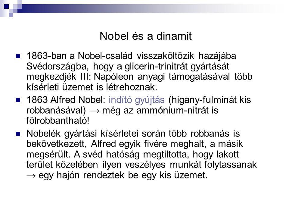Nobel és a dinamit 1863-ban a Nobel-család visszaköltözik hazájába Svédországba, hogy a glicerin-trinitrát gyártását megkezdjék III: Napóleon anyagi támogatásával több kísérleti üzemet is létrehoznak.