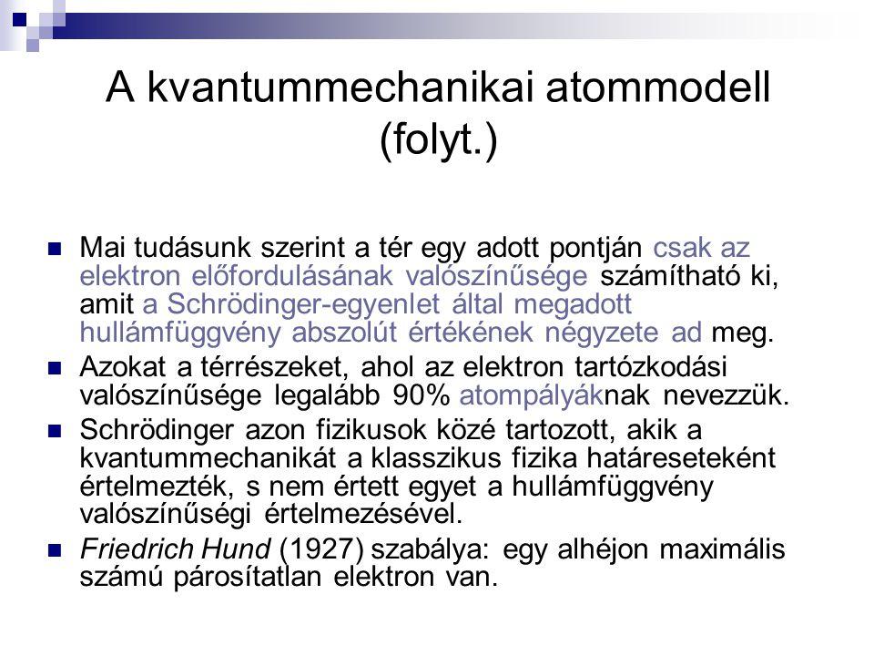 A kvantummechanikai atommodell (folyt.) Mai tudásunk szerint a tér egy adott pontján csak az elektron előfordulásának valószínűsége számítható ki, ami