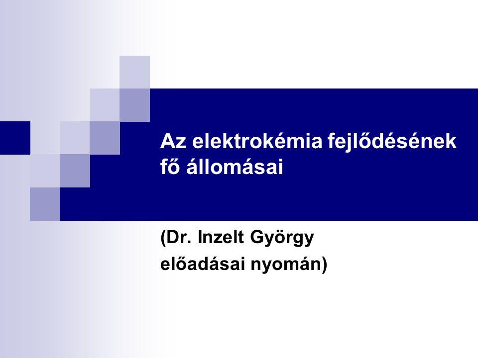 Az elektrokémia fejlődésének fő állomásai (Dr. Inzelt György előadásai nyomán)