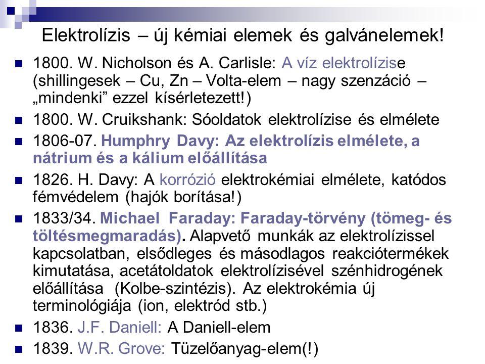 Elektrolízis – új kémiai elemek és galvánelemek! 1800. W. Nicholson és A. Carlisle: A víz elektrolízise (shillingesek – Cu, Zn – Volta-elem – nagy sze