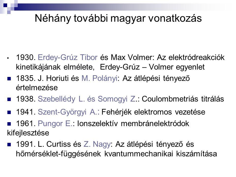 Néhány további magyar vonatkozás 1930. Erdey-Grúz Tibor és Max Volmer: Az elektródreakciók kinetikájának elmélete, Erdey-Grúz – Volmer egyenlet 1835.