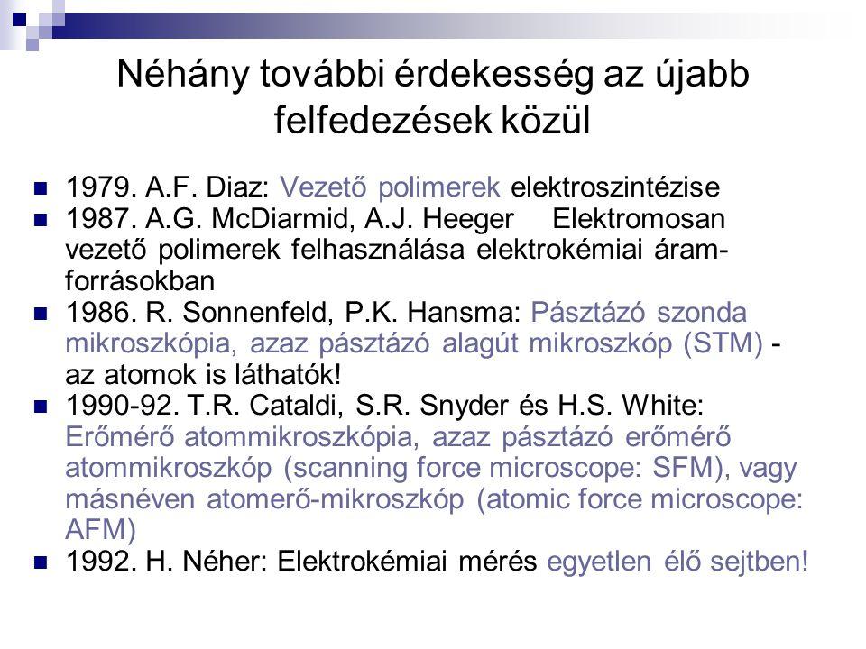Néhány további érdekesség az újabb felfedezések közül 1979. A.F. Diaz: Vezető polimerek elektroszintézise 1987. A.G. McDiarmid, A.J. HeegerElektromosa