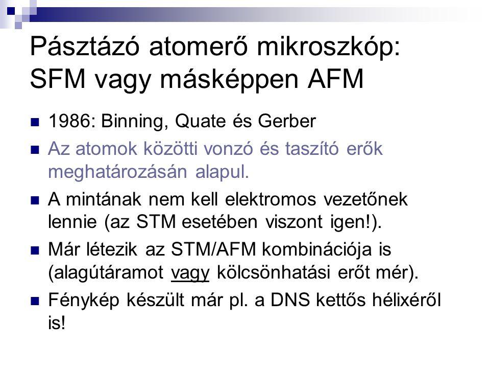 Pásztázó atomerő mikroszkóp: SFM vagy másképpen AFM 1986: Binning, Quate és Gerber Az atomok közötti vonzó és taszító erők meghatározásán alapul. A mi