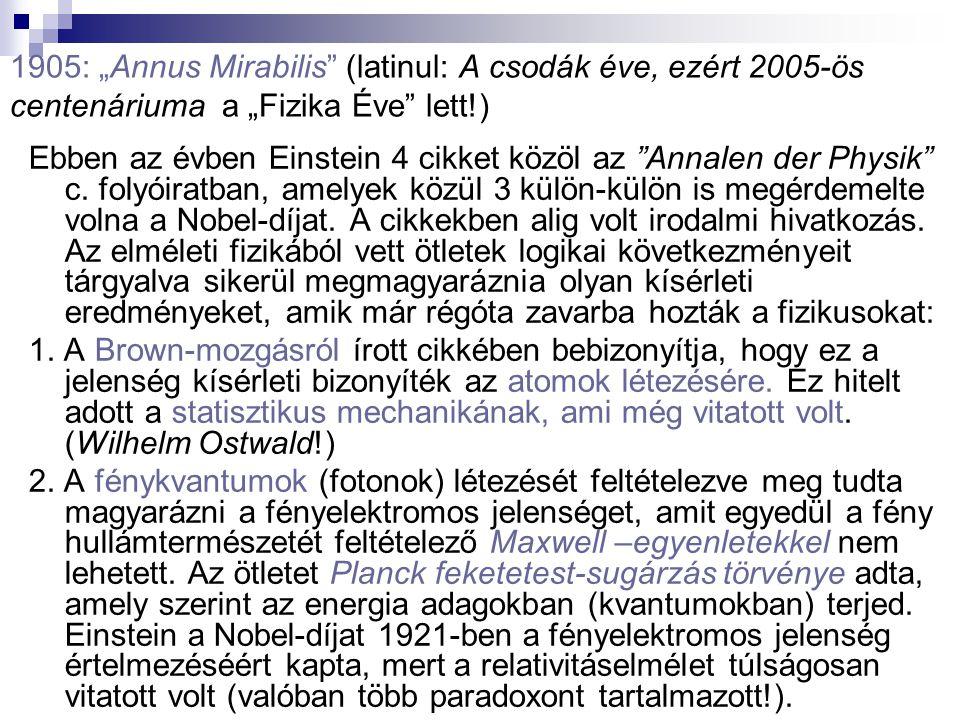 """1905: """"Annus Mirabilis"""" (latinul: A csodák éve, ezért 2005-ös centenáriuma a """"Fizika Éve"""" lett!) Ebben az évben Einstein 4 cikket közöl az """"Annalen de"""