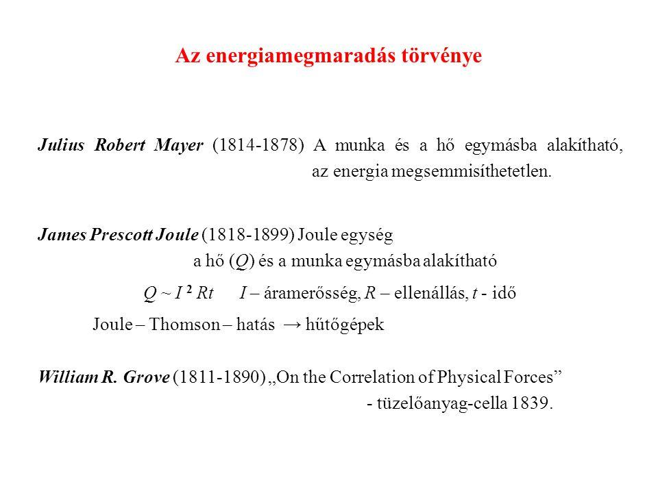Az energiamegmaradás törvénye Julius Robert Mayer (1814-1878) A munka és a hő egymásba alakítható, az energia megsemmisíthetetlen.