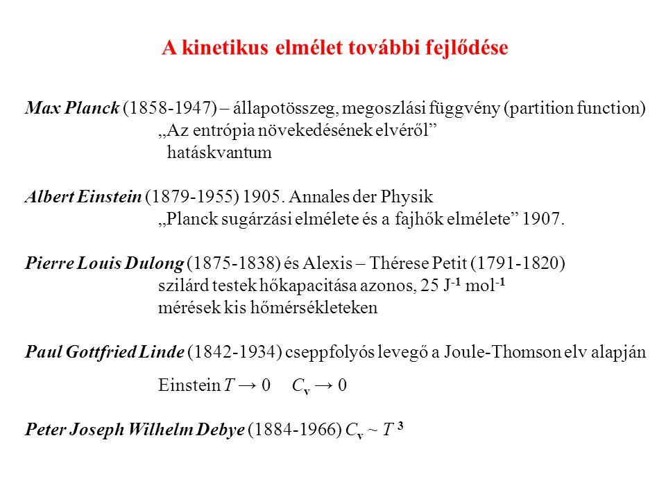 """Max Planck (1858-1947) – állapotösszeg, megoszlási függvény (partition function) """"Az entrópia növekedésének elvéről hatáskvantum Albert Einstein (1879-1955) 1905."""