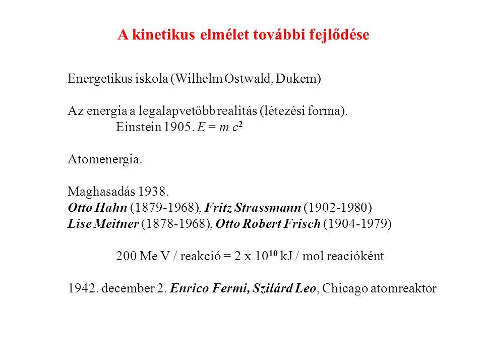 Energetikus iskola (Wilhelm Ostwald, Dukem) Az energia a legalapvetőbb realitás (létezési forma).