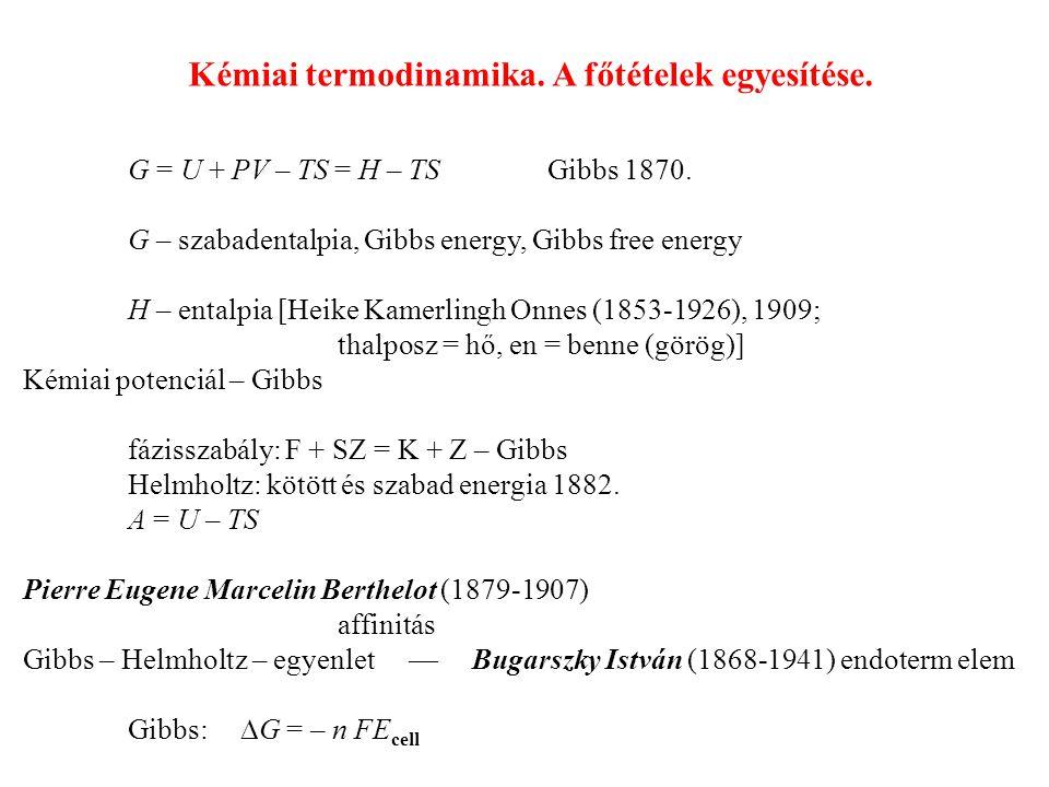 G = U + PV – TS = H – TS Gibbs 1870.