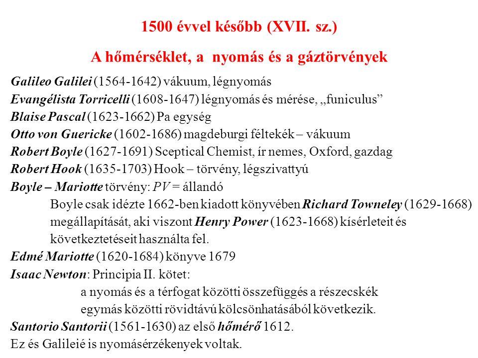 Guillaume Amontons (1663-1705) az első megbízható hőmérő Daniel Gabriel Fahrenheit (1686-1734) folyadékos hőmérő Anders Celsius (1701-1744) hőmérsékleti skála 1742.