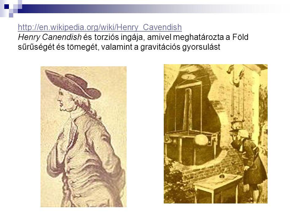 http://en.wikipedia.org/wiki/Henry_Cavendish http://en.wikipedia.org/wiki/Henry_Cavendish Henry Canendish és torziós ingája, amivel meghatározta a Föl