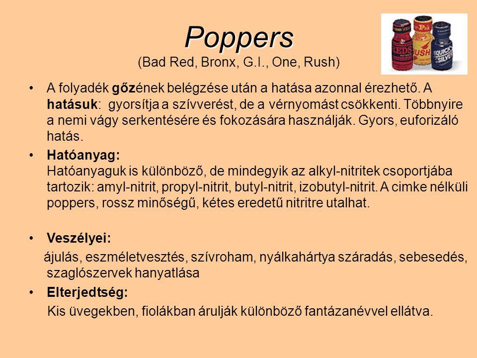 Poppers Poppers (Bad Red, Bronx, G.I., One, Rush) A folyadék gőzének belégzése után a hatása azonnal érezhető. A hatásuk: gyorsítja a szívverést, de a
