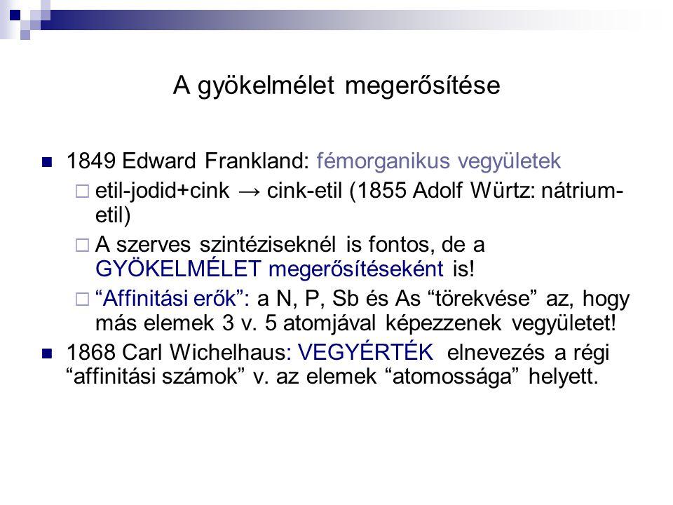 A gyökelmélet megerősítése 1849 Edward Frankland: fémorganikus vegyületek  etil-jodid+cink → cink-etil (1855 Adolf Würtz: nátrium- etil)  A szerves