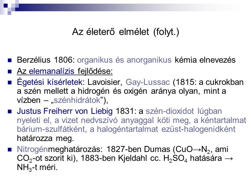 Az életerő elmélet (folyt.) Berzélius 1806: organikus és anorganikus kémia elnevezés Az elemanalízis fejlődése: Égetési kísérletek: Lavoisier, Gay-Lus