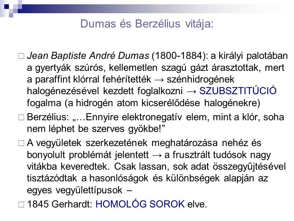 Dumas és Berzélius vitája:  Jean Baptiste André Dumas (1800-1884): a királyi palotában a gyertyák szúrós, kellemetlen szagú gázt árasztottak, mert a