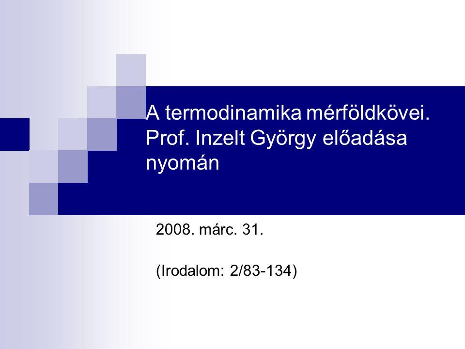 A termodinamika mérföldkövei. Prof. Inzelt György előadása nyomán 2008.
