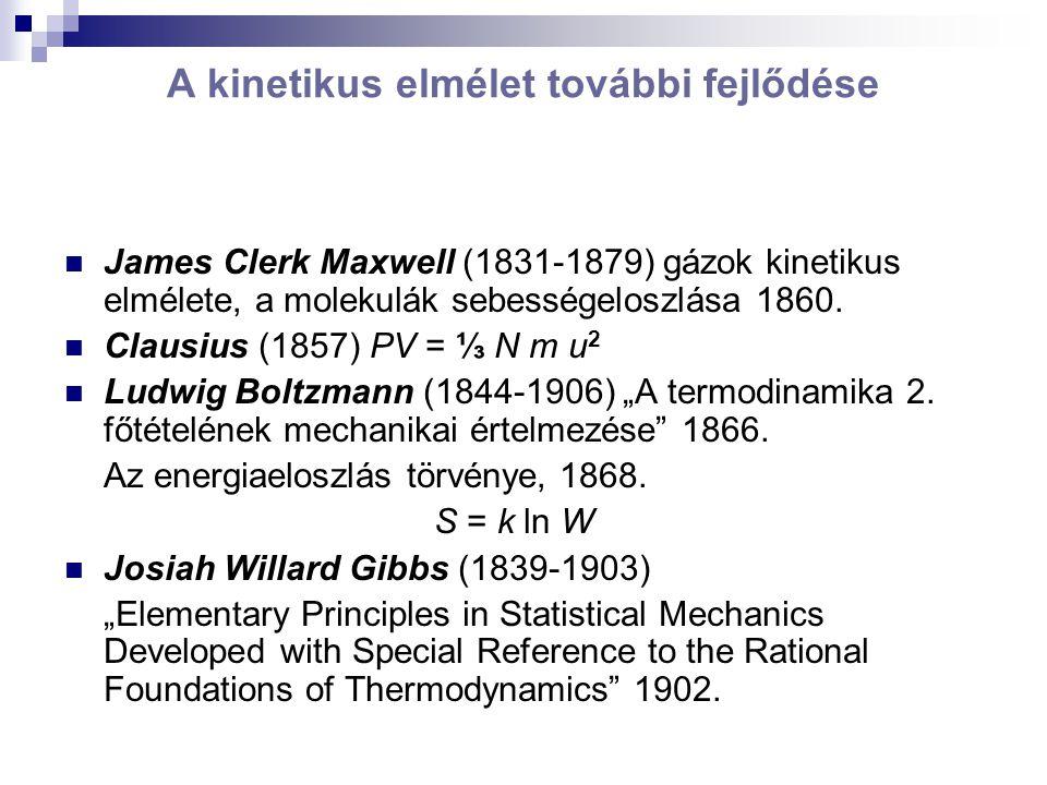 A kinetikus elmélet további fejlődése James Clerk Maxwell (1831-1879) gázok kinetikus elmélete, a molekulák sebességeloszlása 1860.