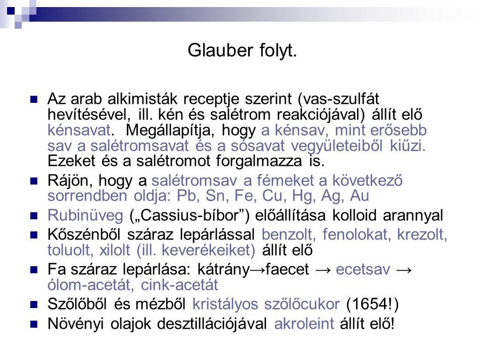Glauber folyt. Az arab alkimisták receptje szerint (vas-szulfát hevítésével, ill.