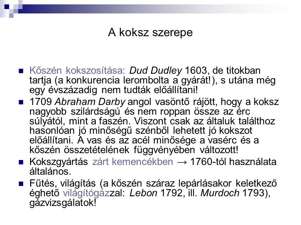 A koksz szerepe Kőszén kokszosítása: Dud Dudley 1603, de titokban tartja (a konkurencia lerombolta a gyárát!), s utána még egy évszázadig nem tudták előállítani.